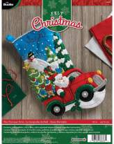 Bucilla 86663I Felt Applique Stocking Kit, The Christmas Drive, 18-Inch, 86663
