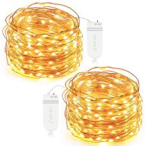 Oak Leaf 30-LED Fairy String Lights, Battery Operated, Warm White, Set of 2