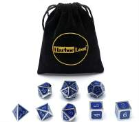 Harbor Loot Full Metal Dice Set Plus Extra D6 Total Eight Dice Metal Polyhedral Dice Set (Blue & Silver)