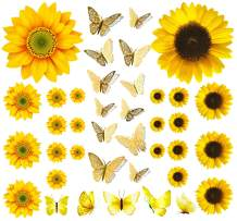 Sunflower Wall Stickers with 3D Butterfly Wall Sticker, 39 PCS Yellow Flowers Decal, Gold 3D Butterfly Metallic Wall Stickers, Removable Mural Stickers Wall Decals for Bedroom Decor