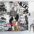 """Ambesonne Fashion Shower Curtain, Model Posing and Sitting on Tabouret with Clothes Grunge Street Style Print, Cloth Fabric Bathroom Decor Set with Hooks, 75"""" Long, Black and White"""
