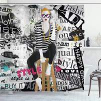 """Ambesonne Fashion Shower Curtain, Model Posing and Sitting on Tabouret with Clothes Grunge Street Style Print, Cloth Fabric Bathroom Decor Set with Hooks, 70"""" Long, Black and White"""