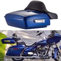 Moto Onfire Chopped Tour Pack, Superior Blue Tour Pak, Wrap-around Backrest Pad Fit for 2014 2015 2016 2017 2018 2019 2020 Harley Touring Street Glide, Road Glide, Road King, Electra Glide