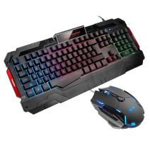 GK806 Wire Keyboard and Mouse Combo — Keyboard and Mouse Included, Breathing LED Backlit Keyboard and Mouse Set, Gaming Mouse and Keyboard Silent 104 Key with Wrist Rest for PC Laptop