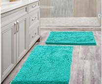 """Bathroom Rugs Mat 20"""" x 30"""" +17"""" x 24"""" Set Turquoise Bath Mat Super Absorbent Bath Rug Machine Washable for Shower, Bath Room, Bedroom and Kitchen(20 x 30+17 x 24, Turquoise)"""