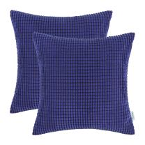 CaliTime Pack of 2 Comfy Throw Pillow Covers Cases for Couch Sofa Bed Decoration Comfortable Supersoft Corduroy Corn Striped Both Sides 18 X 18 Inches Royal Blue