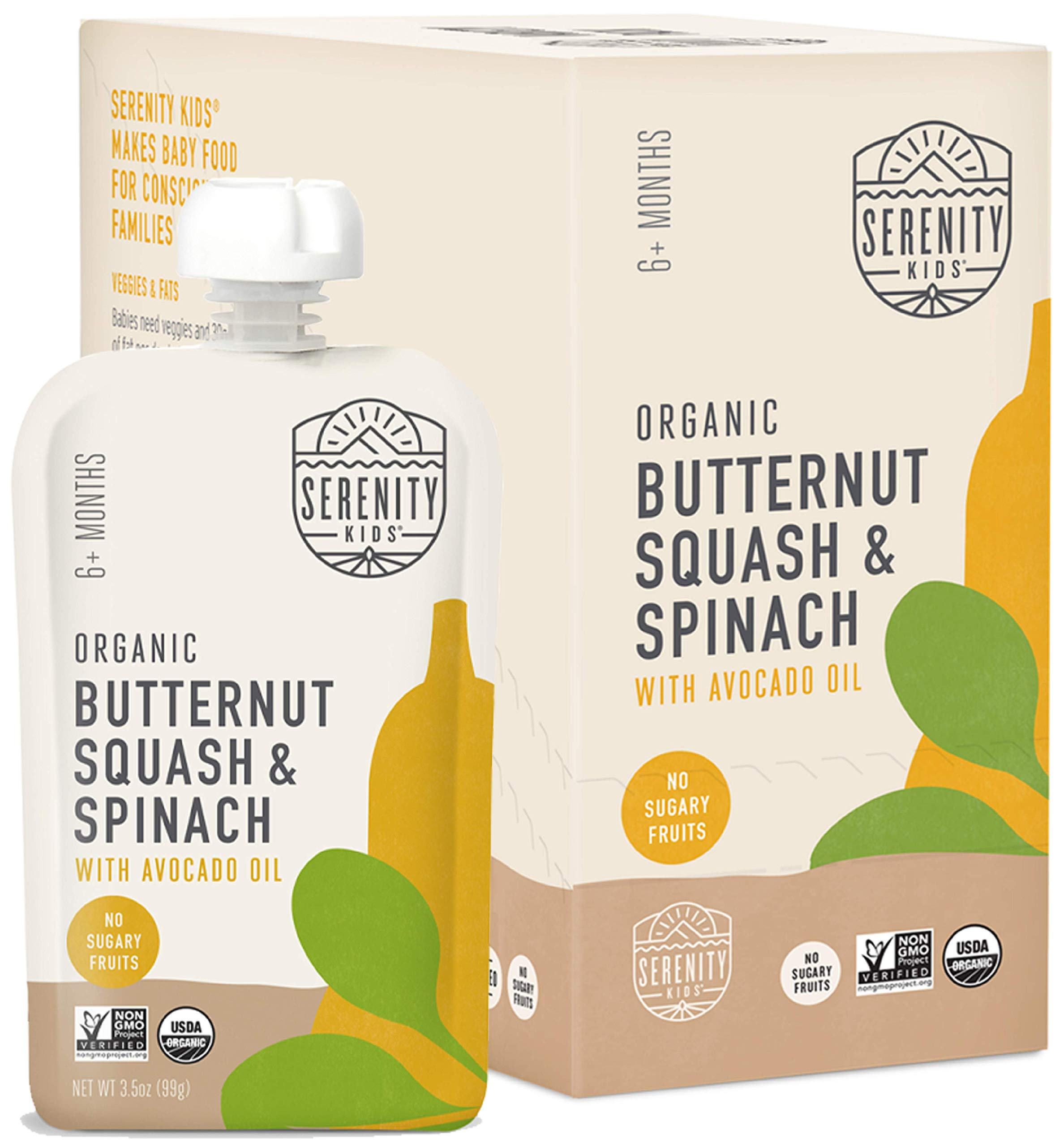 Serenity Kids Baby Food, Organic Butternut Squash and Spinach with Avocado Oil, For 6+ Months, 3.5 Ounce Pouch (6 Pack)