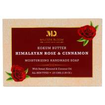 Majestik Bloom Himalayan Rose Natural Bar Soap, with Organic Sweet Almond & Coconut Oil, Nourishes Dry Skin & Sensitive Skin, Face & Body Soap, Vegan & Fragrance Free, For Men, Women & Teens, 125 g