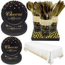Pandecor 40th Birthday Party Supplies -Serves 20-142 PCS Disposable Tableware Set,Includes Table Cover,Dinner Plates,Dessert Plates,Cups,Napkins,Forks,Knives and Spoons for 40 Years Anniversary Party