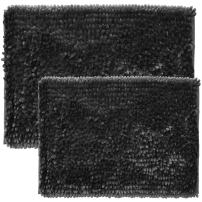 """Sweet Home Collection Bath Set 2 Piece Butter Chenille Noodle Soft Luxurious Rugs Absorbent Non Slip Latex Back Microfiber Bathroom Mat, ((1) 17"""" x 24"""" & (1) 20"""" x 32"""" Charcoal"""