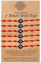 Evil Eye Bracelet 7 Knot Evil Eye Red Bracelet Protection for Women Men Good Luck String Bracelet Kabbalah Protection Friendship Wish Bracelet Jewelry for Girls Birthday Gifts