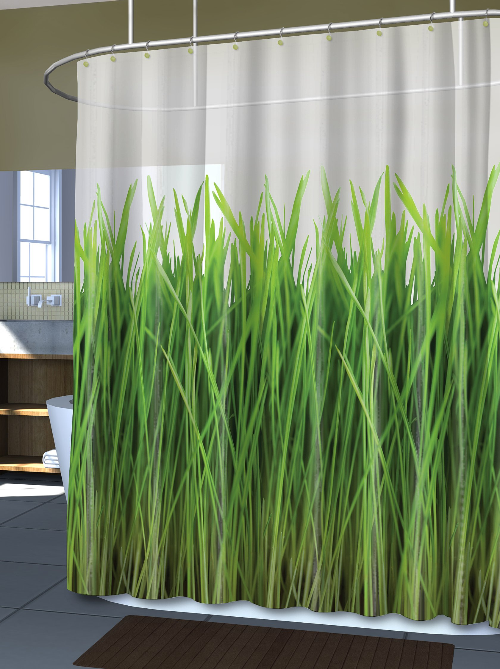 Splash Home 462456 EVA 5G Curtain Liner Design for Bathroom Shower and Bathtubs-Free of PVC Chlorine and Chemical Smell-Non-Toxic and Eco-Friendly-100% Waterproof-Grass Green