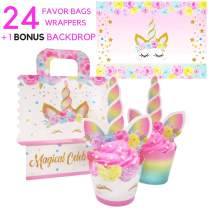 Unicorn Backdrop, Unicorn Cupcake Toppers Wrappers (REAL Glitter and SAFE) Decorations, Unicorn Favor Bags - Reversible Rainbow CupCake Liners with Horn Topper for Girls Birthday Party Supplies, CUTE