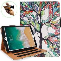 NEWQIANG iPad 5th 6th Generation Case with Hand Strap and Document Pocket - iPad 9.7 inch 2018 2017 Cover - Multi-Angle Stand, Auto Sleep Wake, Shockproof - A1822 A1823 MR7F2LL/A MR7F2LL/A(Love Tree)