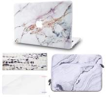 """KECC Laptop Case for MacBook Air 13"""" w/Keyboard Cover + Sleeve + Screen Protector (4 in 1 Bundle) Plastic Hard Shell Case A1466/A1369 (White Marble 4)"""