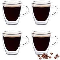 Eparé Espresso Glasses - 2oz Single Shot - Double Walled Demitasse Cups - Mini Mug Shots Set - Be Your Own Home Barista