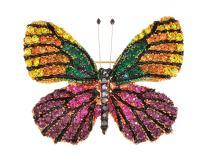 ALILANG Golden Tone Shine Multicolor Rhinestone Monarch Butterfly Bug Brooch Pin