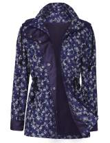UUANG Womens Stylish Travel Trench Hoodie Windproof Hiking Packable Rain Jacket (Floral Navy,S)