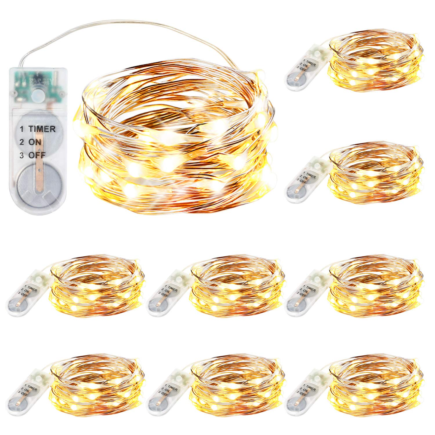 9 Pack Upgraded Fairy String Lights with Timer, 7.2FT 20LED Warm White Fairy Lights Battery Operated, Mini Copper Wire Firefly Bunch Lights for Mason Jars Christmas Decorating, Gifts for Girl Women