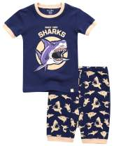 VAENAIT BABY 12M-8 Toddler Kids Girls Boys Cotton 100% Short Sleepwear Pajamas Pjs Set Shark Dino Car 2pcs Set