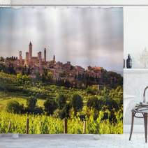 """Ambesonne Antique Shower Curtain, Medieval City of San Gimignano Tuscany Italy Historical Architecture, Cloth Fabric Bathroom Decor Set with Hooks, 84"""" Long Extra, Coral Green"""