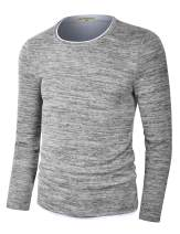Derminpro Men's Slim-Fit Crew Neck Pullover Lightweight Cotton Contrast Sweater