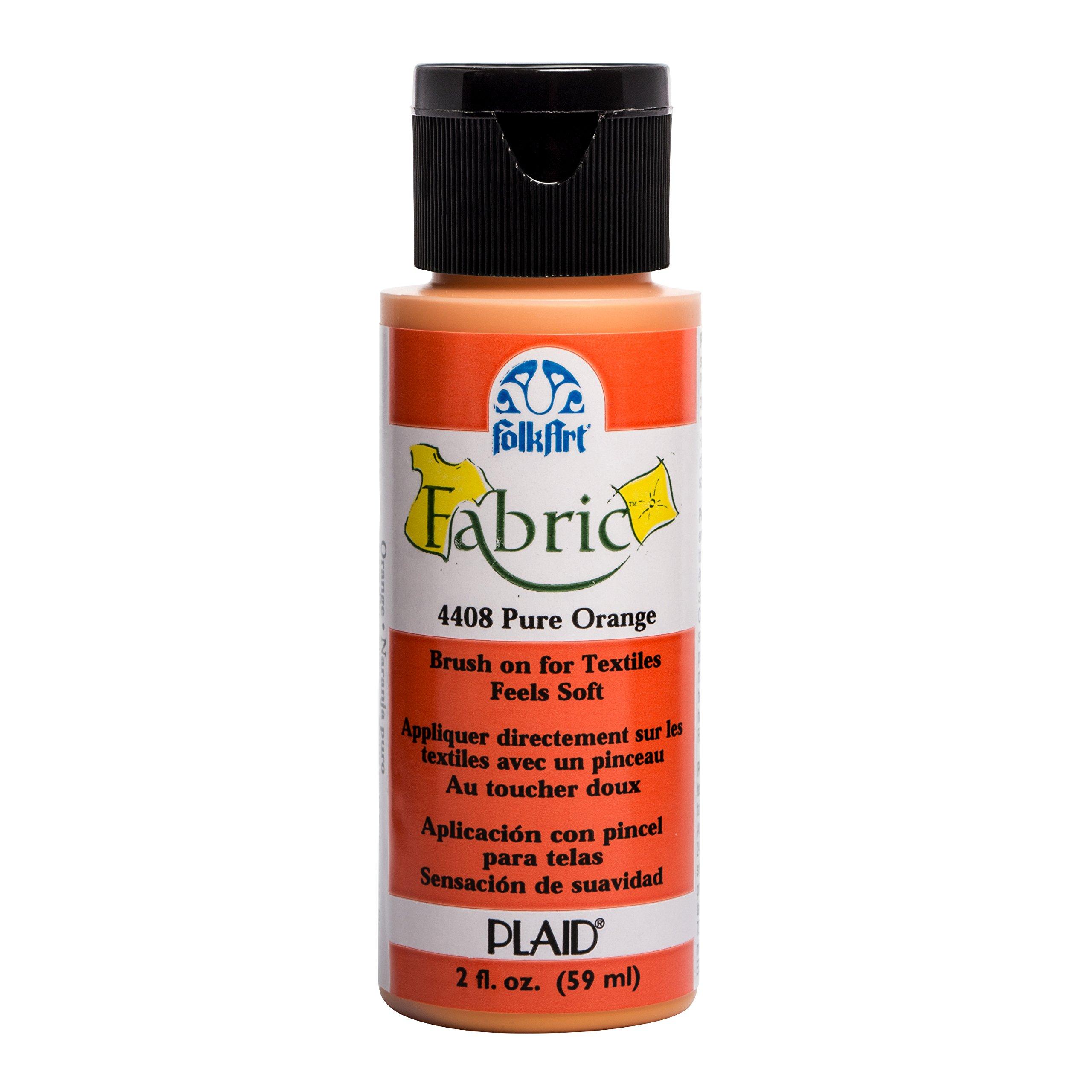 FolkArt 4408 Fabric Brush On Acrylic Paint, 2 oz, Pure Orange