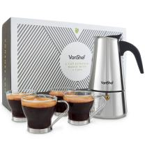 VonShef Percolator Stove Top Espresso Coffee Maker with 4 Glass Demitasse Cups, Stainless Steel, 6 Cup