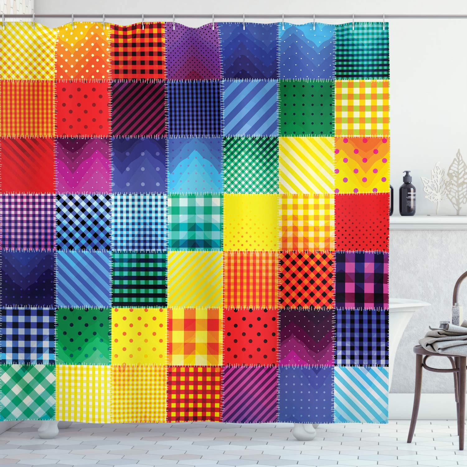 """Ambesonne Abstract Shower Curtain, Rainbow Colored Square Shaped Diverse Patterns with Diagonal Forms Geometric, Cloth Fabric Bathroom Decor Set with Hooks, 75"""" Long, Multicolor"""