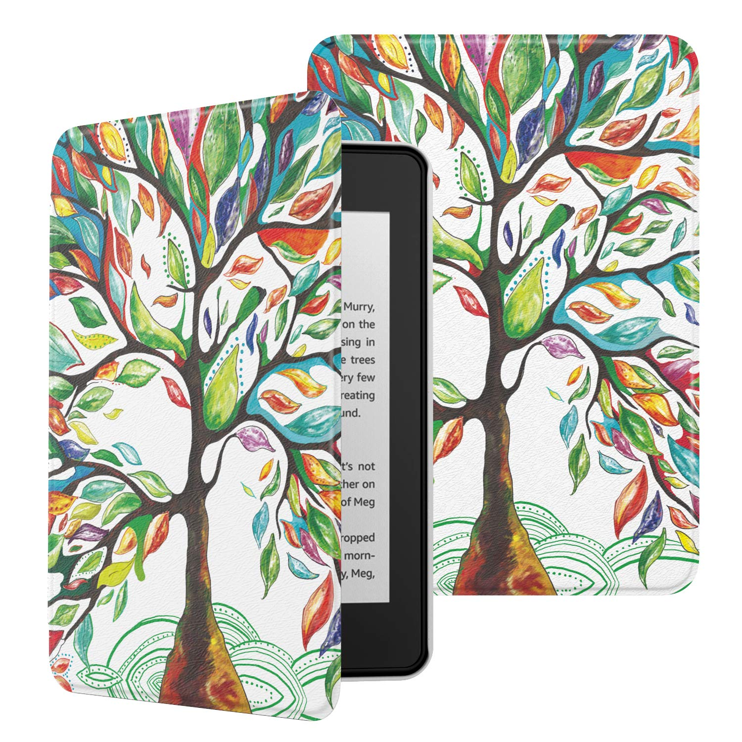 MoKo Case Fits Kindle Paperwhite (10th Generation, 2018 Releases), Premium Ultra Lightweight Shell Cover with Auto Wake/Sleep for Amazon Kindle Paperwhite 2018 E-Reader - Lucky Tree