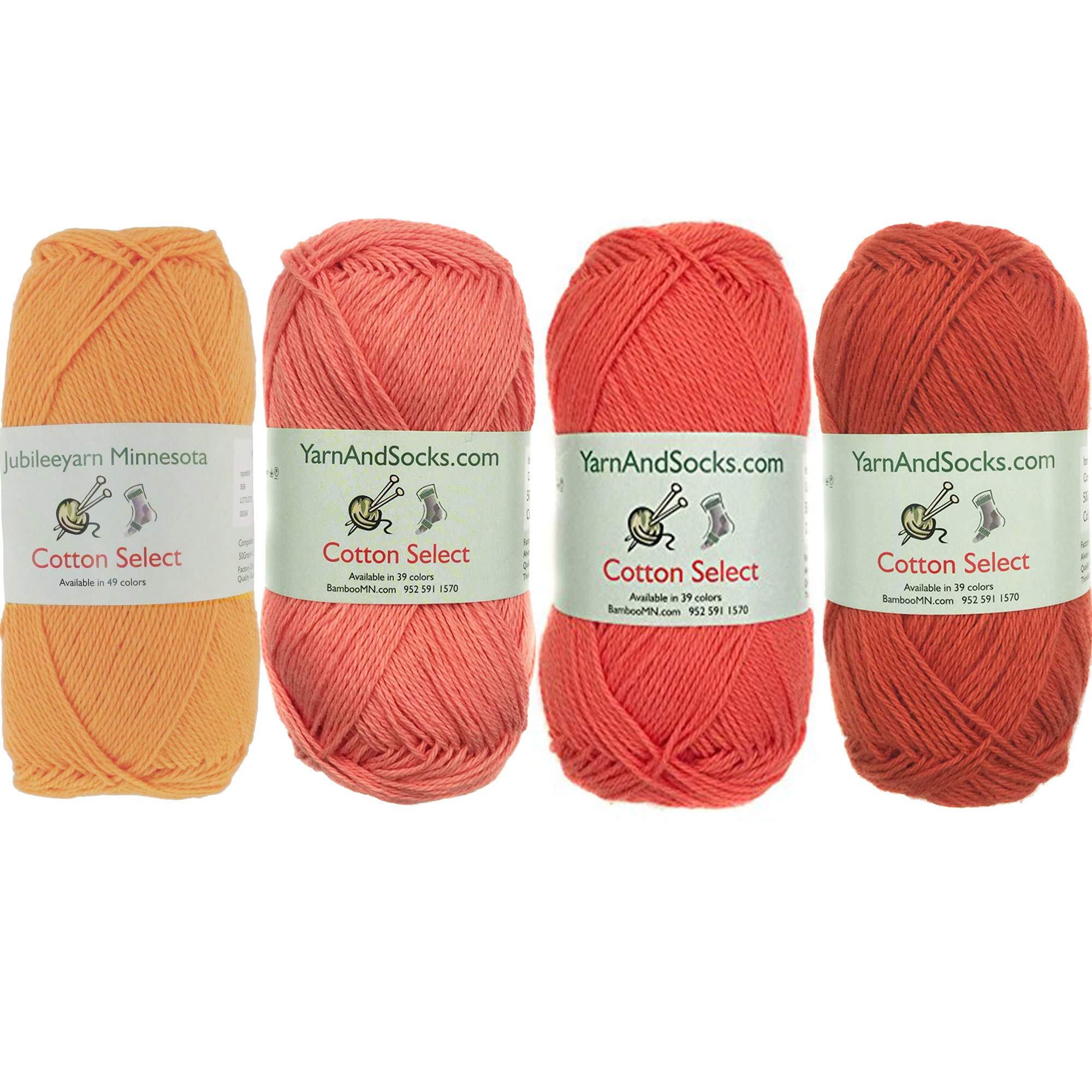Cotton Select Sport Weight Yarn Color Palette Pack - 100% Fine Cotton - Shades of Orange - 4 Skeins