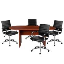 Flash Furniture 5 Piece Cherry Oval Conference Table Set with 4 Black LeatherSoft Ribbed Executive Chairs