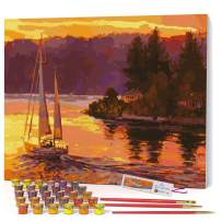 Opalberry Paint by Numbers for Adults Framed Canvas - Adults Paint-by-Number Kits on Canvas Framed - Framed Paint by Numbers for Adults - Paint by Numbers for Adults with Frame - Paint By Number Water