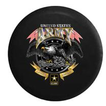 American Unlimited United States Army USA Eagle Loyalty Respect Military Honor Spare Tire Cover (Fits: Jeep Wrangler Accessories or SUV Camper RV) Black 33 in