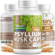 Premium Psyllium Husk Capsules [All Natural & Potent] Powerful Soluble Fiber Supplement Helps Support Regularity & Digestion, Reduces Constipation and Supports Weight Management, 240 Caps