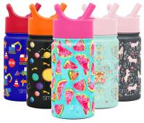 Simple Modern 14oz Summit Kids Water Bottle Thermos with Straw Lid - Dishwasher Safe Vacuum Insulated Double Wall Tumbler Travel Cup 18/8 Stainless Steel Watermelon Splash