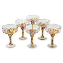 Novica Hand Blown Multicolor Eco-Friendly Glass Margarita Glasses, 13 Oz. 'Confetti Festival' (Set Of 6)
