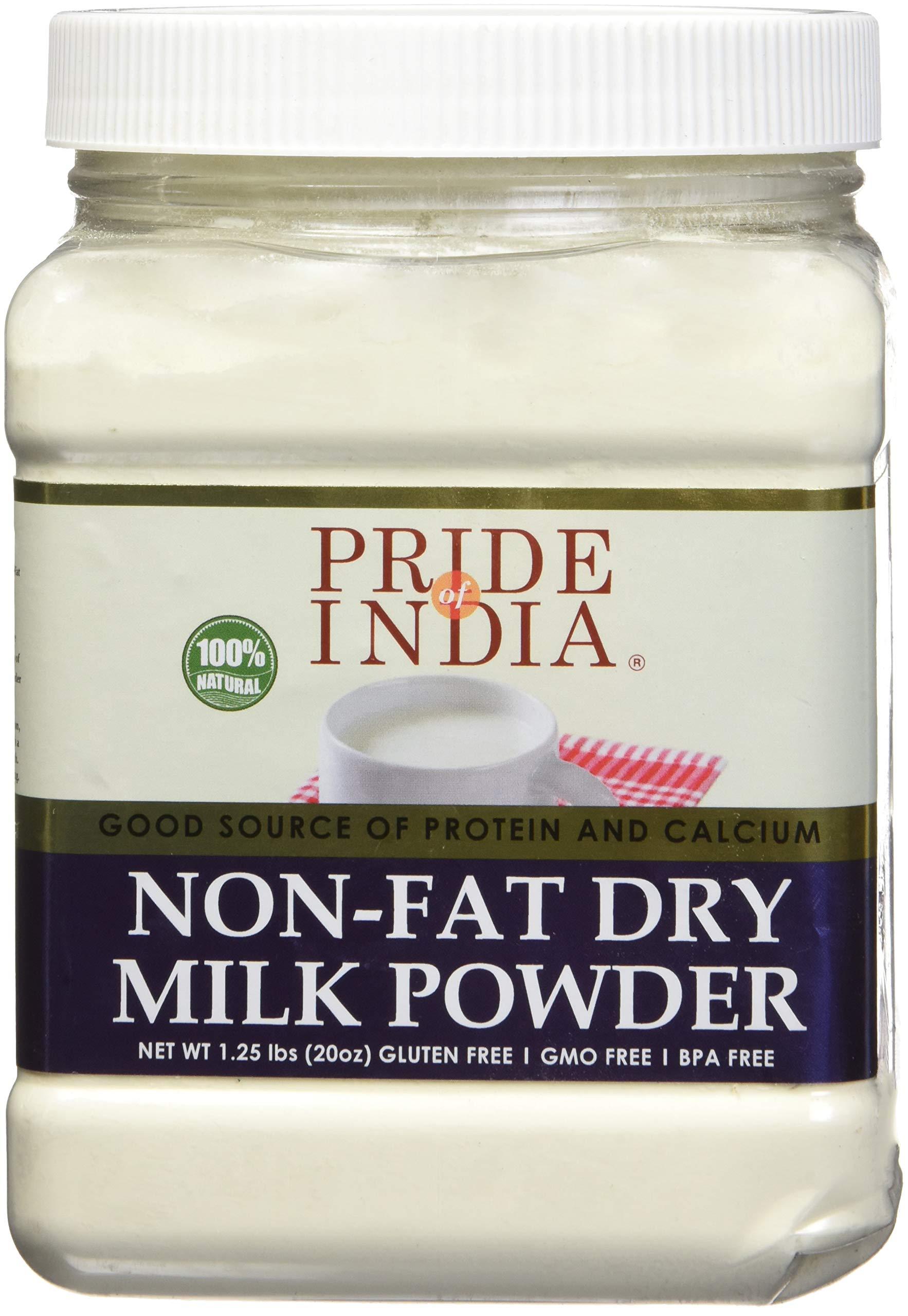 Pride Of India - Nonfat Dry Milk Powder - Protein & Calcium Rich - 1.25 lbs (20oz) Jar