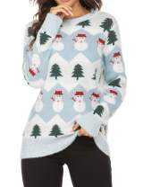 UNibelle Women's Christmas Knitted Sweater Snowman Christmas Tree Ugly Cute Sweater Cardigan Pullover