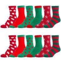 Women's Fuzzy Plush Soft Slipper Socks, Fluffy Winter Cozy Value Pack Socks