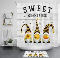 LB Farmhouse Gnome Shower Curtain Funny Gnome Bee with Sweet Honey Sunflower in Rustic Truck Bathroom Sets with Shower Curtain and Rugs,70X70 inch