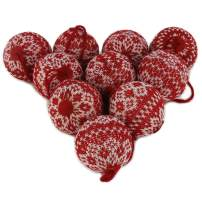 """WEWILL 2.75"""" (70mm) Red and White Knit Sweater Christmas Ball Ornaments Festive Decoration Snowflake,10 PCS(Style 1)"""