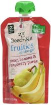 Beech-Nut Fruities On-the-Go, Baby Food, Stage 2, Pear, Banana & Raspberry, 3.5 Ounce Pouch (Pack of 12)