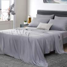 """Umchord Bamboo Sheets Set, 6 Piece 100% Bamboo Bed Sheets Queen, Cooling Sheet Set for Hot Sleepers, Moisture Wicking Bed Sheets with 16"""" Deep Pocket, Silky Soft Bedding Sheets (Queen, Grey)"""