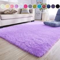junovo Ultra Soft Area Rugs 4 x 5.3ft Fluffy Carpets for Bedroom Kids Girls Boys Baby Living Room Shaggy Floor Nursery Rug Home Decor Mats, Purple
