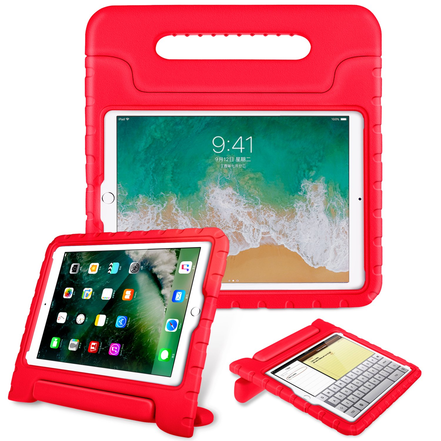 Fintie Case for iPad 6th Generation 2018 / iPad 5th Generation 2017 / iPad Air 2 / iPad Air (9.7 Inch) - Kiddie Series Light Weight Shock Proof Convertible Handle Stand Cover Kids Friendly, Red