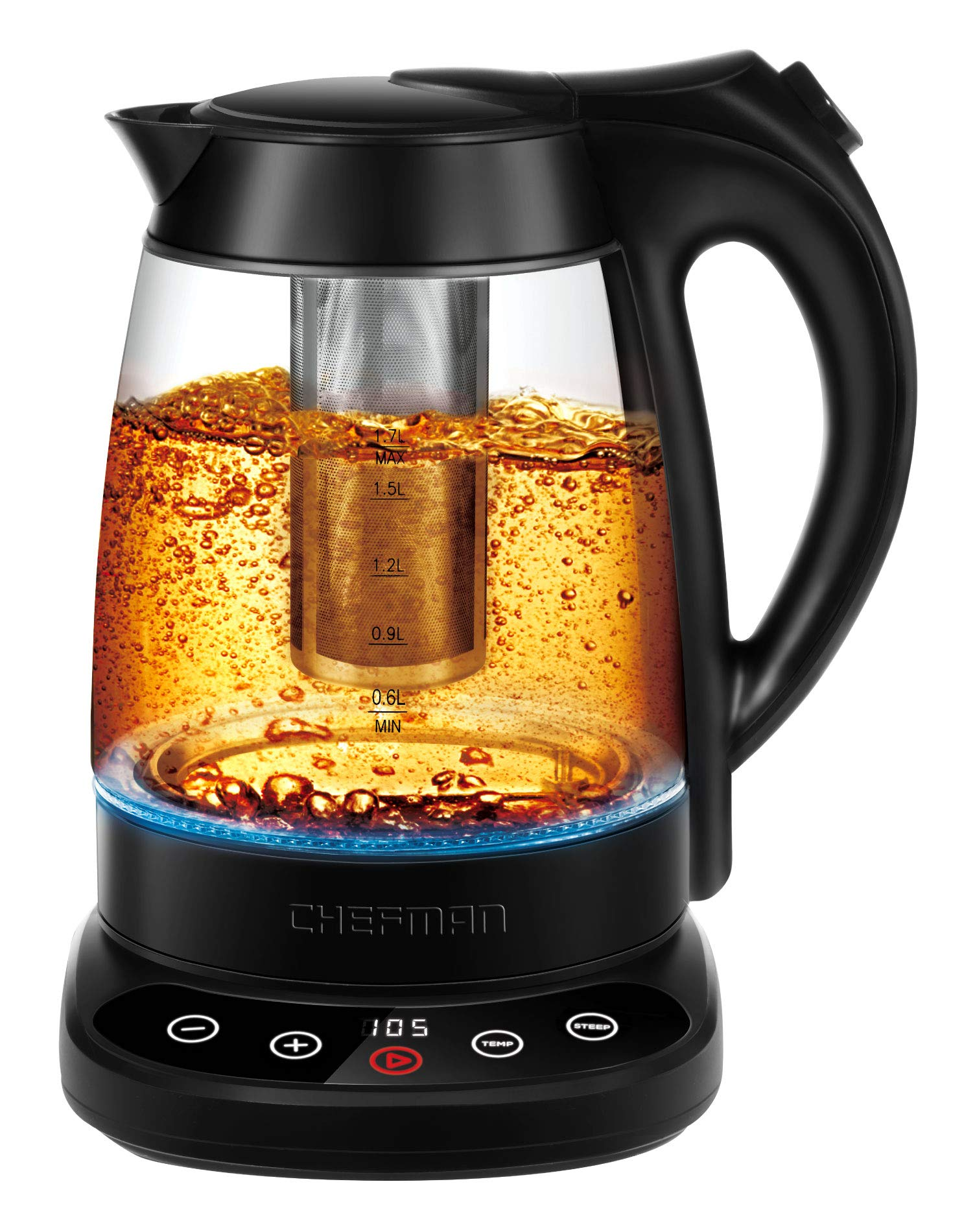 Chefman Digital Display Removable Tea Infuser Included, Cool Touch Handle, 360° Swivel Base, BPA Free, 1.7 Liter/1.8 Quart