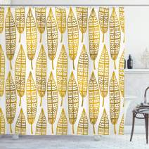 """Ambesonne Feather Shower Curtain, Detailed Inspired Boho Artwork Print, Cloth Fabric Bathroom Decor Set with Hooks, 75"""" Long, Marigold Amber"""