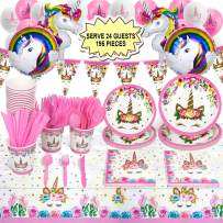 Rainbow Unicorn Birthday Party Supplies (195 Pieces) for 24 Guests, Unicorn Birthday Party Favors Decorations - Unicorn Cups, Plates, Napkins, Cutlery, Table Cover, Balloons and Happy Birthday Banner