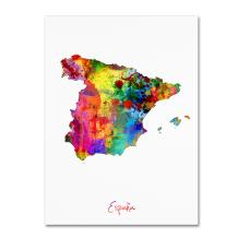 Spain Watercolor Map by Michael Tompsett, 24x32-Inch Canvas Wall Art